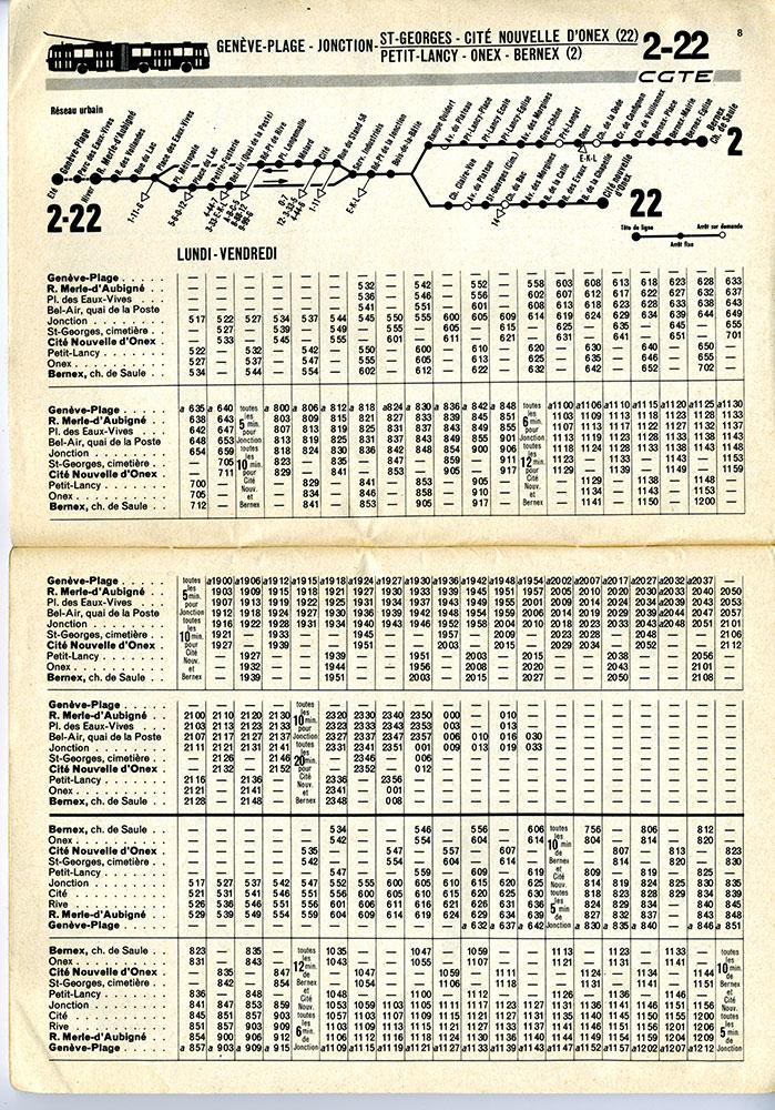 Horaire de la ligne 2-22, valable du 26 septembre 1976 au 24 septembre 1977