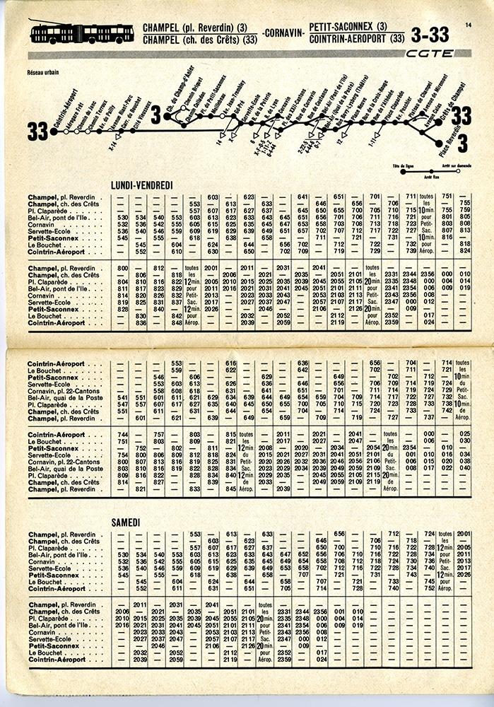Horaire 3-33 de 1976-77 - Collection SNOTPG