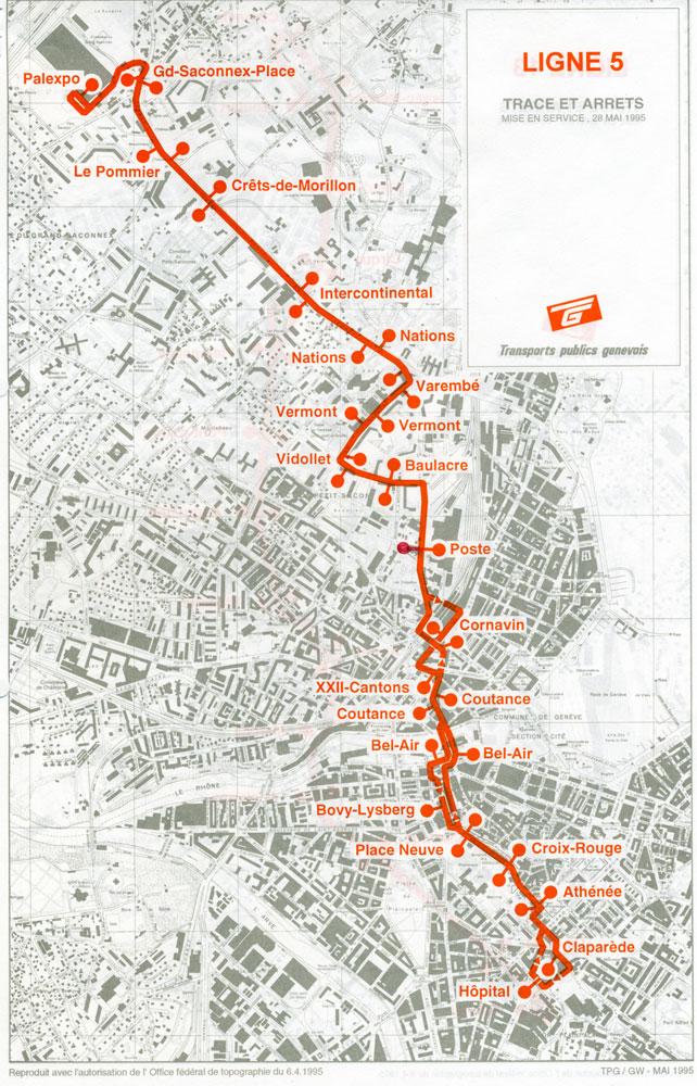 Parcours de la ligne 5 en mai 1995 - Archive collection SNOTPG
