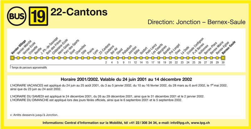 Horaire de la ligne 19 de juin 2001 - Collection SNOTPG