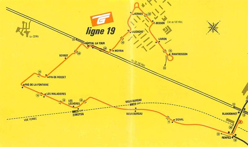 Plan de la ligne 19 lors de la création le 31 mai 1987 - Collection SNOTPG