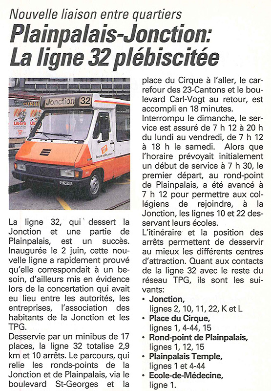 Article paru dans Info TPG en novembre 1992 - Collection SNOTPG