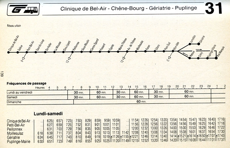 Horaire de la ligne 31 du 24 septembre 1989 - Collection SNOTPG