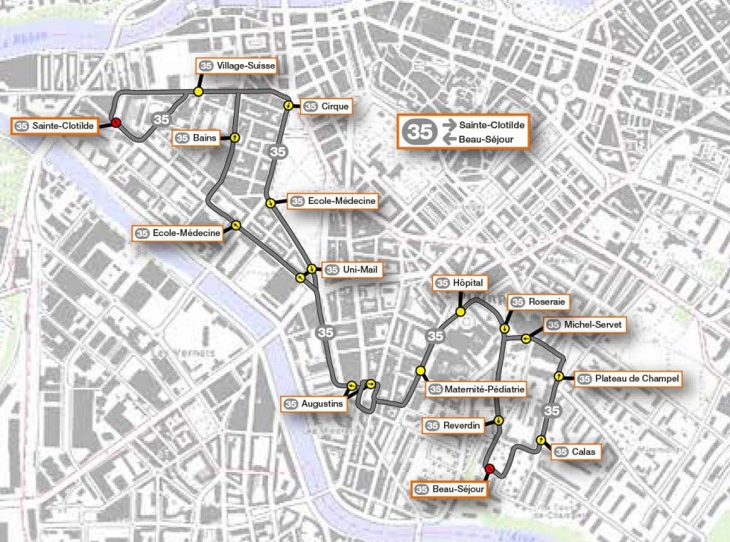 Plan ligne 35 - Carte SNOTPG