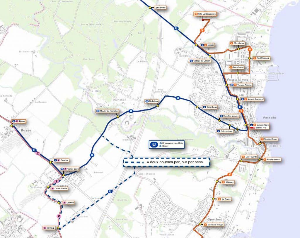 Plan ligne U - Carte SNOTPG