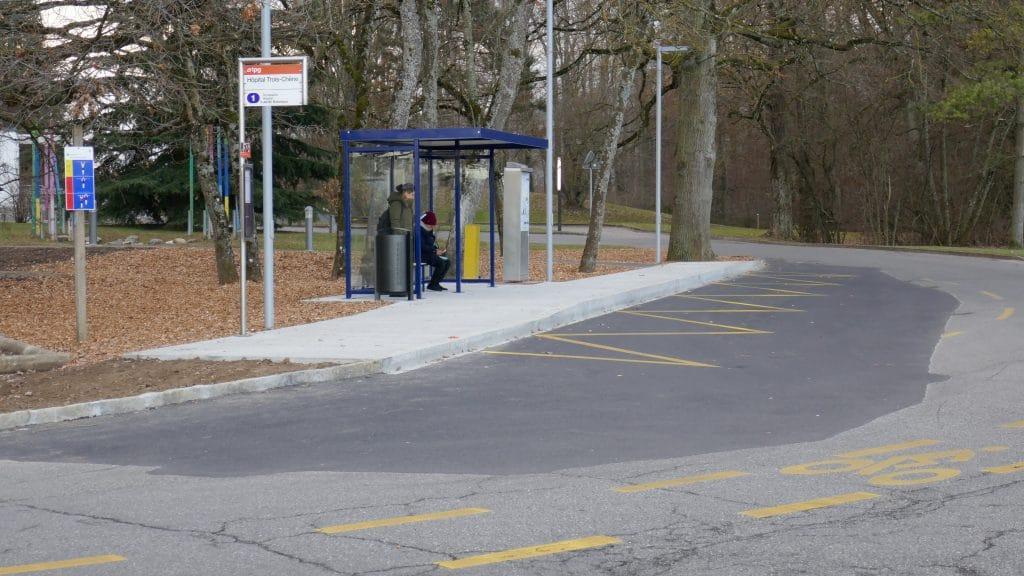 """Arrêt """"Hôpital Trois-Chêne"""", le 3 janvier 2017 - Photo copyright SNOTPG"""